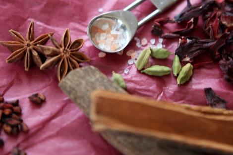Spices, cardamom, star anise, casia
